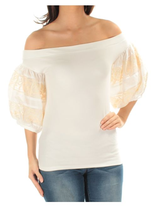 Free People Womens Rock With It Embroidered Knit Blouse ivory S