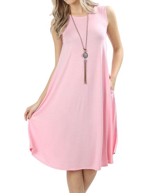 Womens Sleeveless Round Neck Knee Length Tunic Swing Dress
