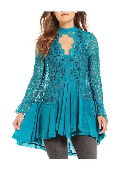 Free People Womens Tell Tale Cutout Lace Tunic Blouse
