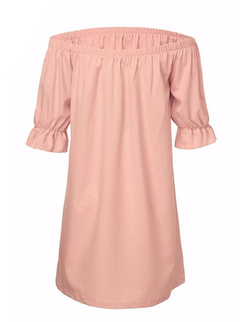 StylesILove Women 3/4 Sleeve Off Shoulder Casual Loose Mini Dress (Small, Pink)