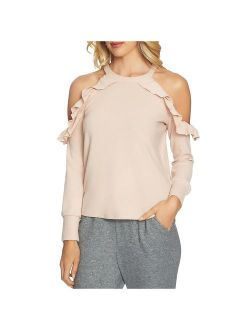1.State Womens Ruffle Cold shoulder Pullover Top