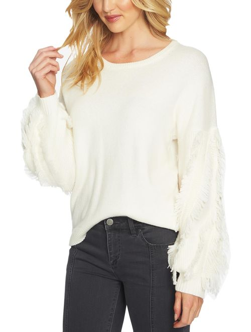 1.State Womens Fringe Long Sleeves Pullover Sweater Ivory S