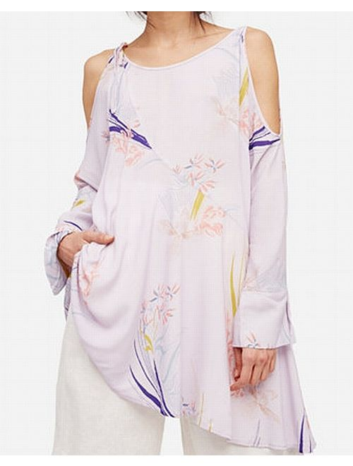 Free People NEW Purple Womens Size Small S Cold Shoulder Tunic Top