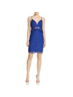 Womens Solstice Lace Peplum Bodycon Dress