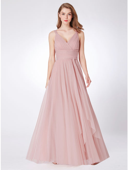 Ever-Pretty Womens V-neck A-Line Tulle Prom Homecoming Dresses for Women 73032 Blush US4