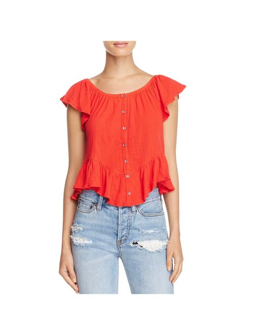 Free People Red Women's Small Floral-Print Blouse