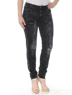 Womens Black Embellished Jeans Size: 27 Waist