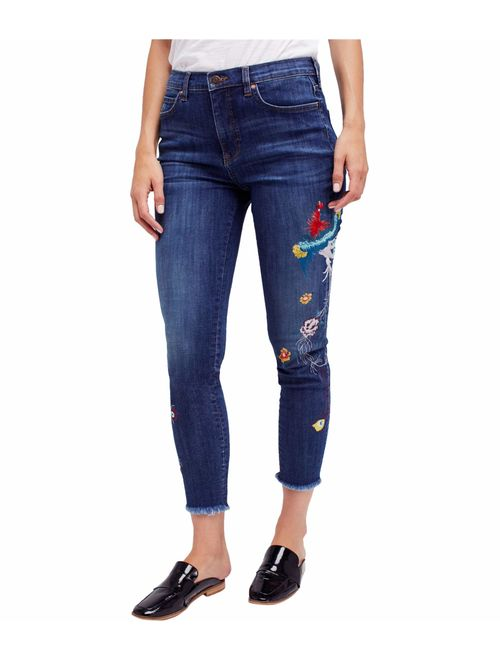 Free People Womens Embroidered Skinny Fit Jeans