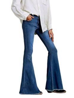 JDinms Womens Classic Flare Bell Bottom Denim Jeans Pants