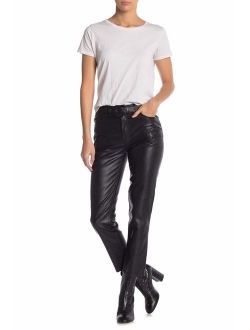 Womens Faux Leather Belted Pants
