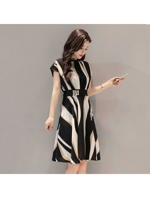 Elegant Stripe Print Dress Women Ladies O-neck Short Sleeve Tunic A-line Dresses