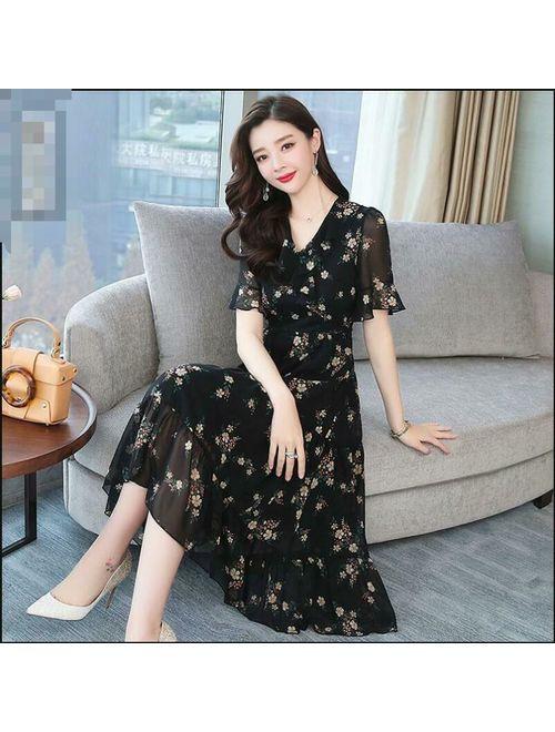 2019 Women's Temperament Large Size Long Skirt Slim Floral Printed Chiffon Dress