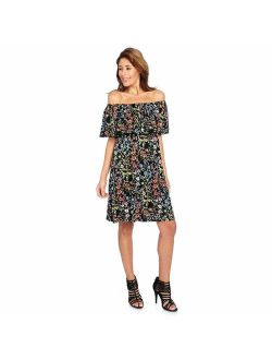 Kate & Mallory Sleeveless Off-the-Shoulder Ruffled Dress in Black Floral - S