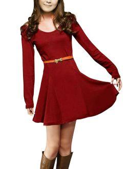 Women's Cold Shoulder Belted Dress Red (Size M / 8)