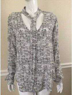 NEW CLOTH & STONE SzL TIE NECK LONG SLEEVE SHIRT PRINT WHITE/BLACK MULTI