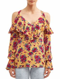 Sofia Jeans Cold-Shoulder Ruffle Neck Woven Top Women's (Vintage Floral)