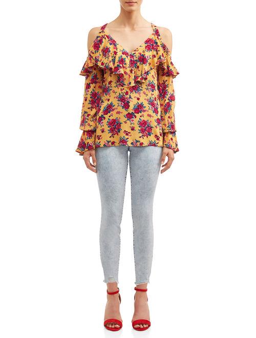 Sofia Jeans Cold-Shoulder Ruffle Neck Woven Top Women's (Vintage Floral)