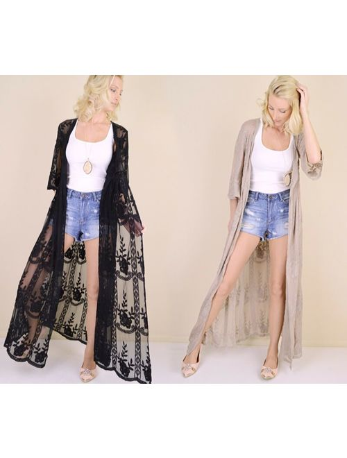 Women's Embroidered Sheer Lace Kimono Sleeve Long Duster Cardigan Maxi Black