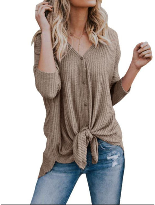 Women Sweater Kintted Long Sleeve V-neck Sweater