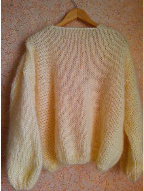 White Mohair cardigan - Hand Knit women cardigan - Angora Wool cardigan - Arm Knitting women jaket - Oversize Mohair cardigan - Mohair jaket