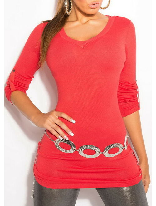 Women's Button Tab Sweater with Back Lace - One Size (S/M/L)