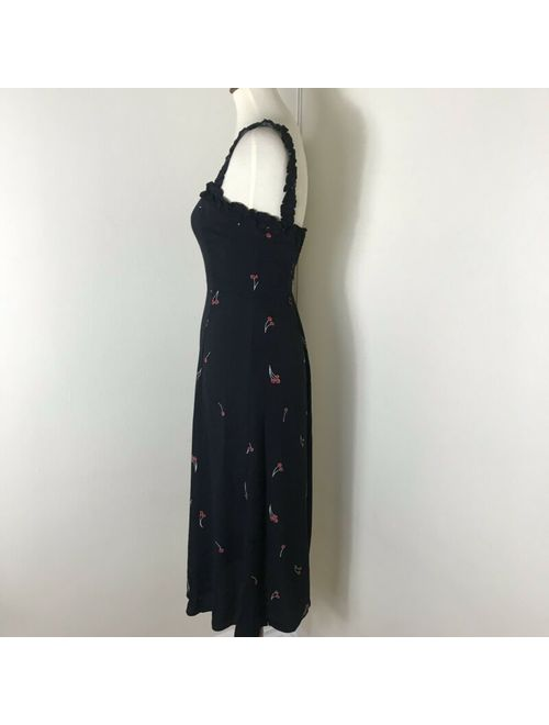 Reformation Arielle Cherry Print Dress Size 2 Black Midi NWOT $248