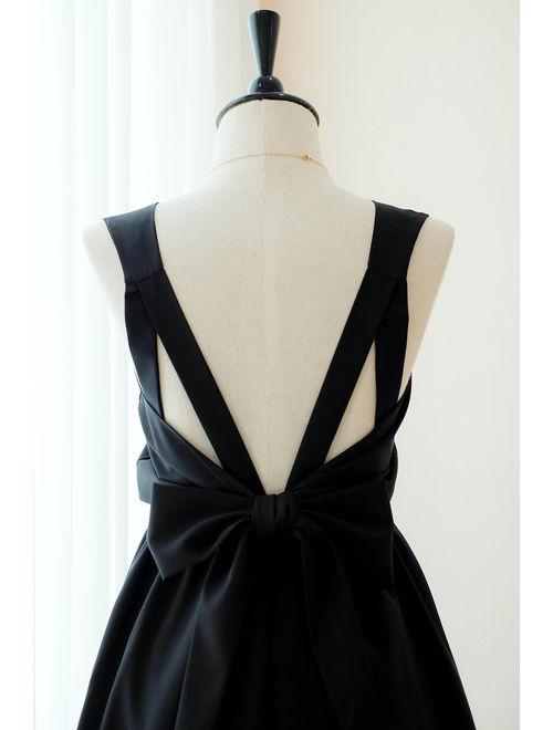 Black Dress Black Bridesmaid dress Wedding Prom dress Cocktail Party dress Evening dress Backless bow dress