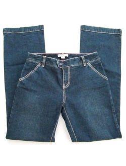 Janeville Women's Size 4 Wide Leg Dark Denim Flap Back Trousers Jeans EUC