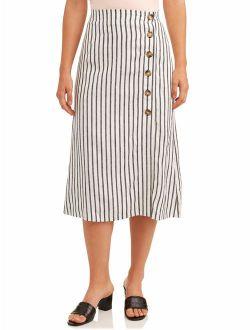 Women's Linen Button Stripe Skirt