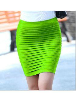 3PCS High Waist Pleated Skinny Mini Bandage Hip Skirt YF173- Fluorescent green