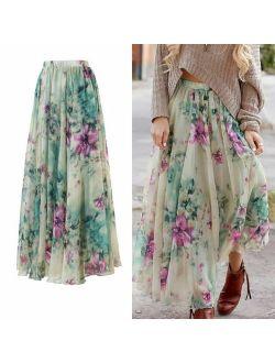 New Women Chiffon Floral High Waist Maxi Dress Skater Flared Pleated Long Skirt