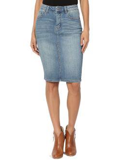 Women's Vintage Wash Blue Jean Pencil Knee Length Soft Denim Midi Skirt