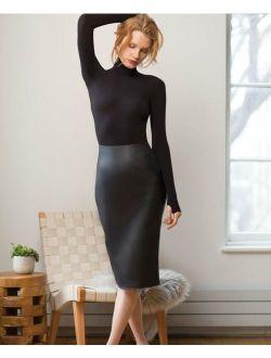 Women's Black Commando Perfect Faux Leather Skirt UK Size 8 - 18