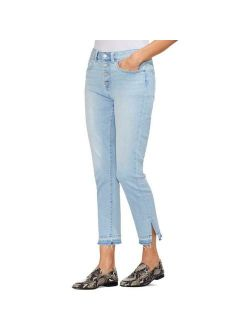 Womens Blue Denim Frayed Light Wash Skinny Jeans 31 12 Bhfo 9413