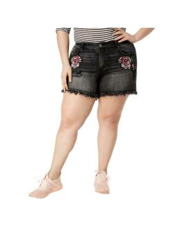 William Rast Womens Black Embroidered Frayed Denim Shorts Plus 20W BHFO 5865