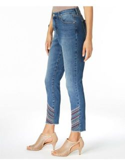 Style & Co. 9191 Size 14 NEW Blue Skinny-Leg Jeans Embroidered-Detail Ankle $64