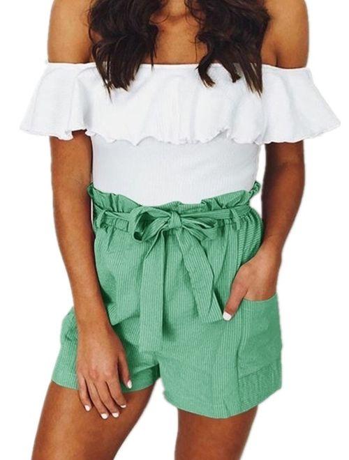 Elastic Waist Women Casual Shorts Summer Casual Pants