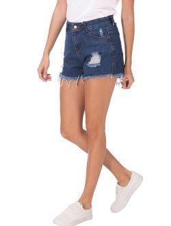 SAYFUT Women's Summer Jean Shorts Destroyed Ripped Frayed Hem Hight Waist Casual Denim Short Plus Size L-4XL