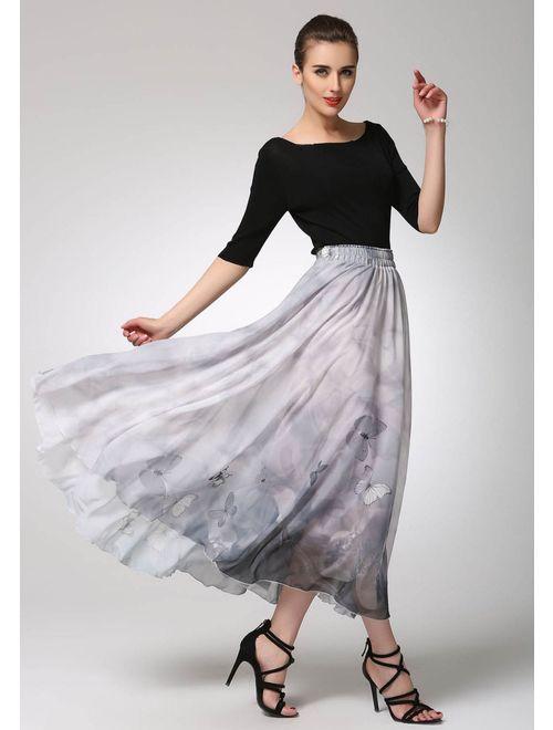 grey skirt, chiffon skirt, summer skirt, butterfly skirt, maxi skirt, fit and flare skirt, elastic skirt, plus size skirt 1296#