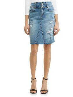 Claudia Destructed Pencil Skirt Women's (Medium Wash)