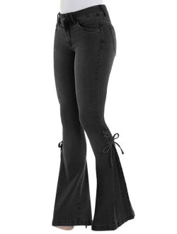 Womens Vintage High Waisted Flared Bell Bottom Jeans Trendy Stretch Denim Pants Trousers Classic Casual Long Pants