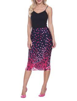 Women's Polka Dot Printed Pencil Midi Skirt