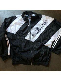 Vintage 90's Adidas White Black Spell Out Windbreaker Zip Up Jacket Sz L