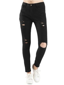 Women's Mid Rise Ripped Jeans Stretchy Denim Pants Jegging Black