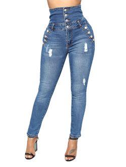 JDinms Womens High Wiast Skinny Denim Jeans
