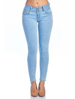 Love Moda Women's Butt Lifting Mid Rise Skinny Jeans (Lt.blue, 1 #93400)