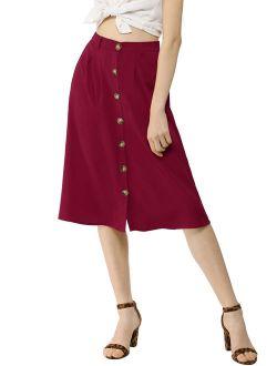 Women's Button Front High Waist Belted Flare Skirt (Size XS / 2) Burgundy