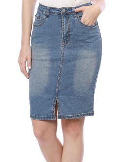 Women Slant Pockets Split Trim Washed Denim Pencil Skirt Dress Blue S (US 6)