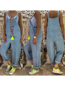 Fashion Women Ladies Straps Jumpsuit Denim Jeans Pants Overalls Rompers Trousers