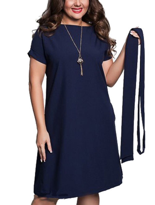 Nicesee Womens Plus Size Solid Color Short Sleeve Belt Dress Evening Party Cocktail